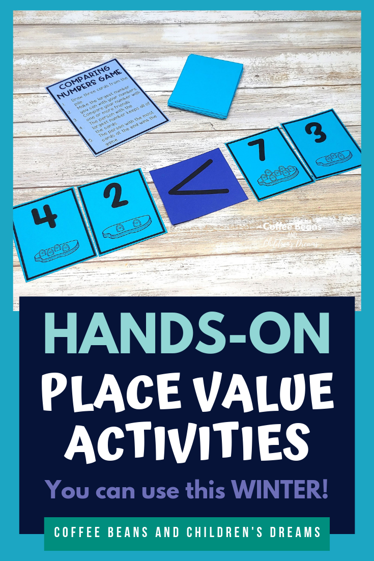 Place Value skills are so important for our students. Finding activities that are hands-on and engaging can be tough. This winter blog post shares 5 different activities you can easily add into your math block right away. Add a pack of cards and some dice and you have fun engaging activities that your students will love. These no prep print and go or easy prep activities will help you save time when planning your math block. #coffeebeanstpt #placevalue #winter